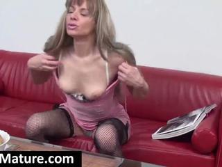 Horny Blonde Mom Reading A Porn Magazine Undresses And Masturbates