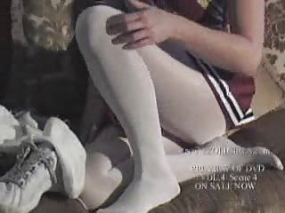 Pantyhose Cheerleader Kristen Shows Cunt Under Tights