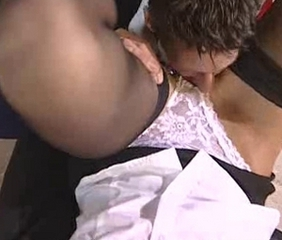 British slut Angel Long FMM threesome in stockings
