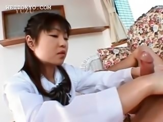 Asian handjob and blowjob with sweet horny schoolgirl