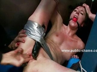 Dumb slut disgraced in public rough sex