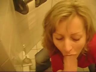 Busty Blonde GF, Fucking At Public Toilet