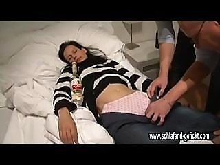 Brunette Drunk Panty Sleeping Teen