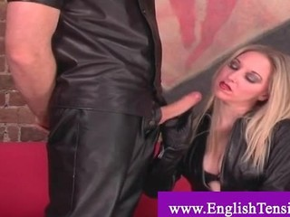 Humiliated Sex Slave In Black Leather Fucks Her Mistress