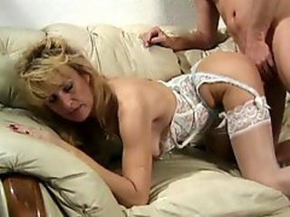 Blonde Doggystyle Lingerie Mature Stockings
