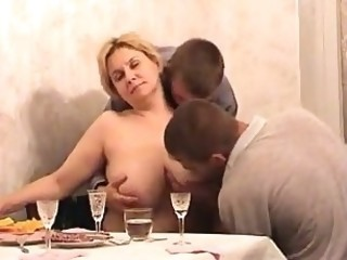 Amateur Big Tits Drunk Kitchen Mature Mom Natural Old and Young Threesome