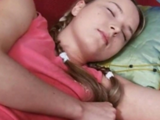 Blonde Pigtail Sleeping Teen
