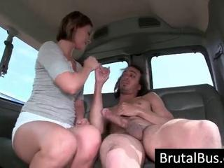 The Brutal Bus Has Arrived And A Young Brunette Blows His Big Hot Rod