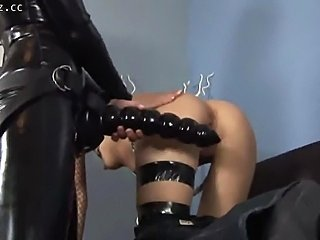 Provocative  lesbo females drill their little holes and prats with enormous...