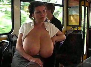 Amateur Big Tits Bus MILF Natural Nipples Public