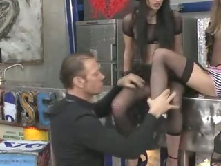 Avril and Kerry take ferocious face-fucks from RoccoтАЩs massive shaft