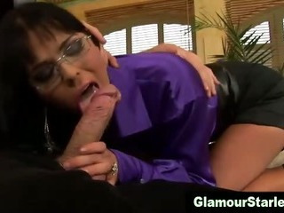 Clothed glam spex bitch gets fucked
