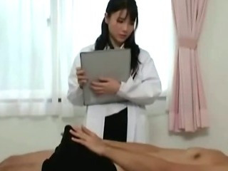 Japanese nurse slut sucks horny patient cock