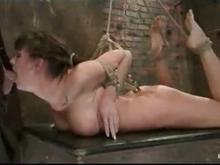 Indiscretion fucked together with ass hooked bound babe gets vibrated