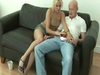 Blonde keeps her clothes on space fully sucking