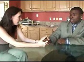 Brunette white housewife with her son's black teacher - IR