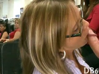 Blowjob CFNM Glasses MILF Party