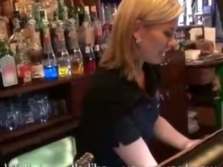 Overheated hot bartender chick gets fucked during her work so she can earn extra money