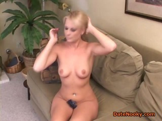 Infant Blonde masturbates and gives head