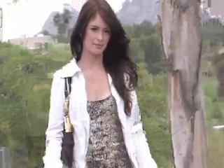 Ashlyn brunette teen with natural tits getting naked and pos...