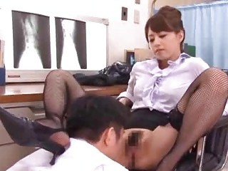 Asian Hairy Licking MILF Stockings