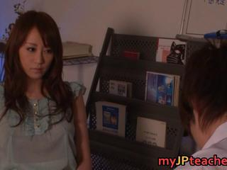 Arisa Sawa sexy japanese Teacher in mini skirt engulfing