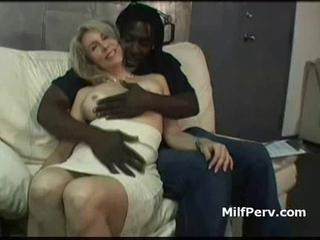 Hot boobs blonde milf seduced by big young black cock