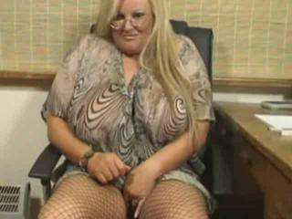 BBW Big Tits Blonde Glasses Masturbating MILF