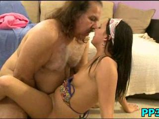 Curious girl takes old man cock