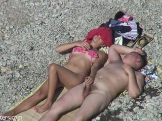 Beach Handjob Nudist Outdoor Small cock Voyeur Wife