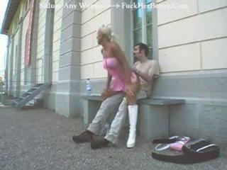 German Busty Blonde Fucked In Public