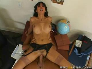 Brunette pussy gets fucked at work