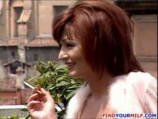 European Italian MILF Outdoor Redhead Smoking
