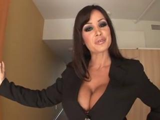 Provocative brunette secretary with huge boobs testing futur...