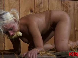 Stuffed with corn blonde spanked