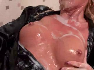 Blonde Takes Massive Cumshots