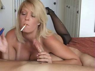 Amateur Blonde Blowjob Homemade MILF Smoking Stockings