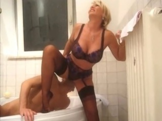 Bathroom Lingerie Licking MILF Stockings
