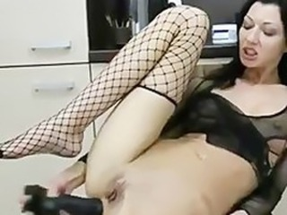 Amazing Fishnet Kitchen Masturbating Shaved Solo Teen Toy