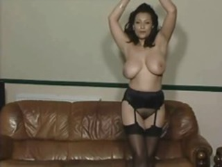Amazing Big Tits MILF Natural Solo Stockings