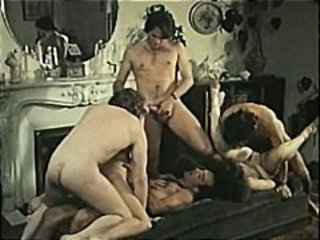 Classic hardcore French action with vintage group sex and DP