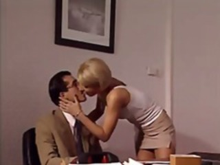 Blonde Italian MILF secretary munches on the bosses dick and gets drilled in the ass