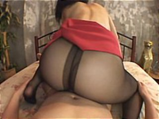 Sexy Japanese babe gets her black pantyhose torn open to get drilled
