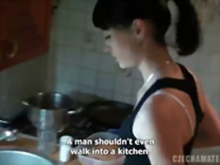Amateur European Kitchen Teen