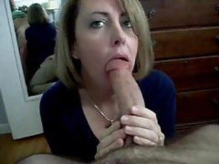 Milf sucks his dick and swallows his cum tubes