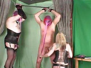 Mistress has two guys bound to play with them tubes