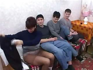 Russian Mom fuck Son & his Friends