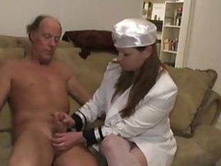 Handjob from a girl in a suit tubes