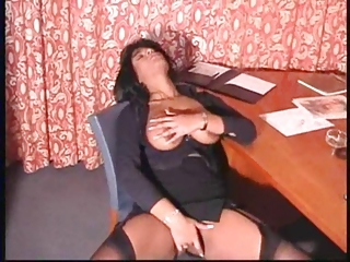Masturbating Mature Secretary Solo Stockings