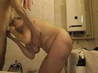 Amateur Bathroom BBW Blowjob Homemade Mature Mom
